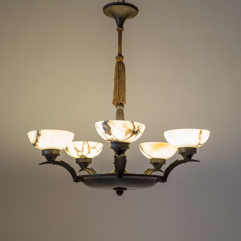 Art Deco Bronze and Alabaster Chandelier, circa 1920 In Good Condition For Sale In Vienna, AT
