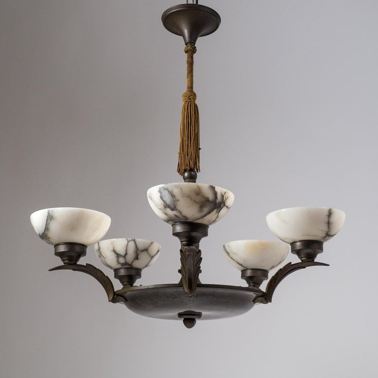 Early 20th Century Art Deco Bronze and Alabaster Chandelier, circa 1920 For Sale