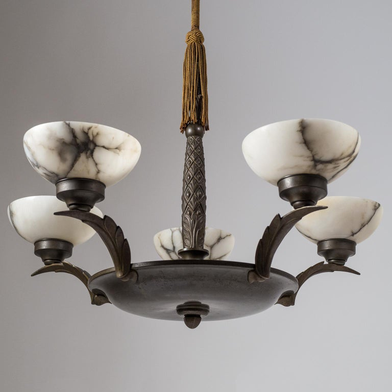 Art Deco Bronze and Alabaster Chandelier, circa 1920 For Sale 1