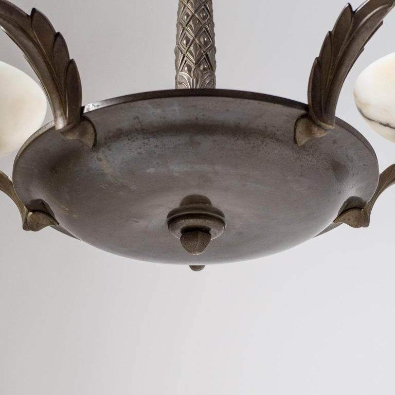 Art Deco Bronze and Alabaster Chandelier, circa 1920 For Sale 2
