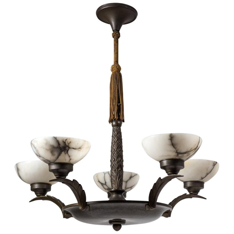 Art Deco Bronze and Alabaster Chandelier, circa 1920 For Sale