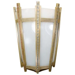 "Art Deco Bronze and Glass ""Federal"" Wall Sconce"
