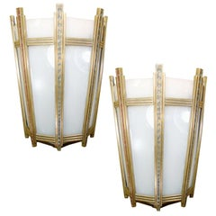 "Art Deco Bronze and Glass ""Federal"" Wall Sconce, Pair"
