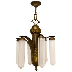 Art Deco Bronze and Glass Six-Light Chandelier