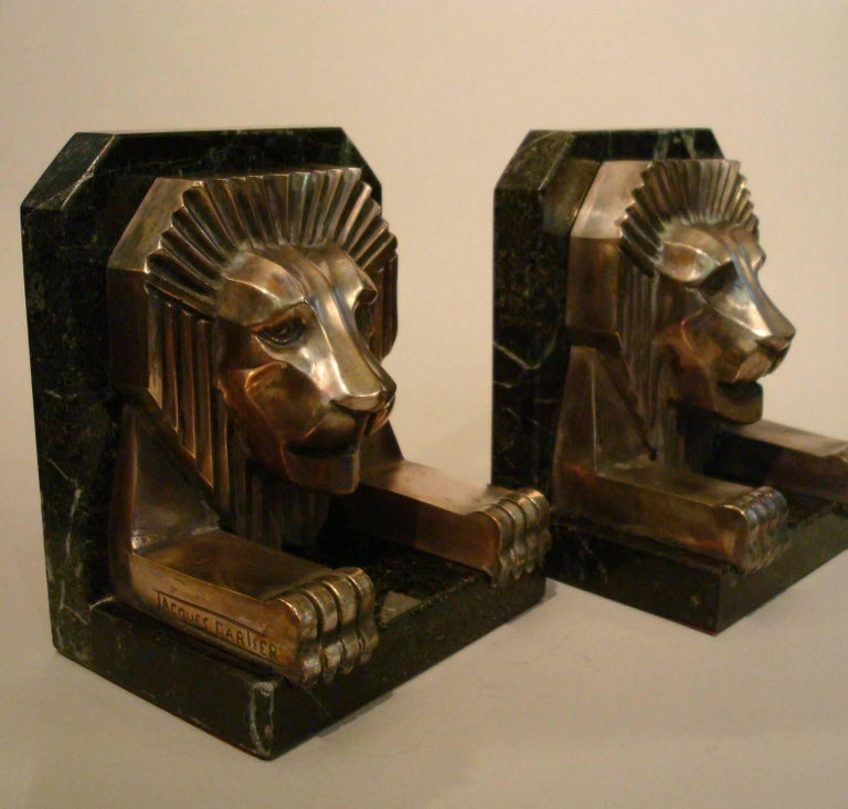 Art Deco Bronze and Marble Lion Bookends, Jacques Cartier, France, 1925 For Sale 3