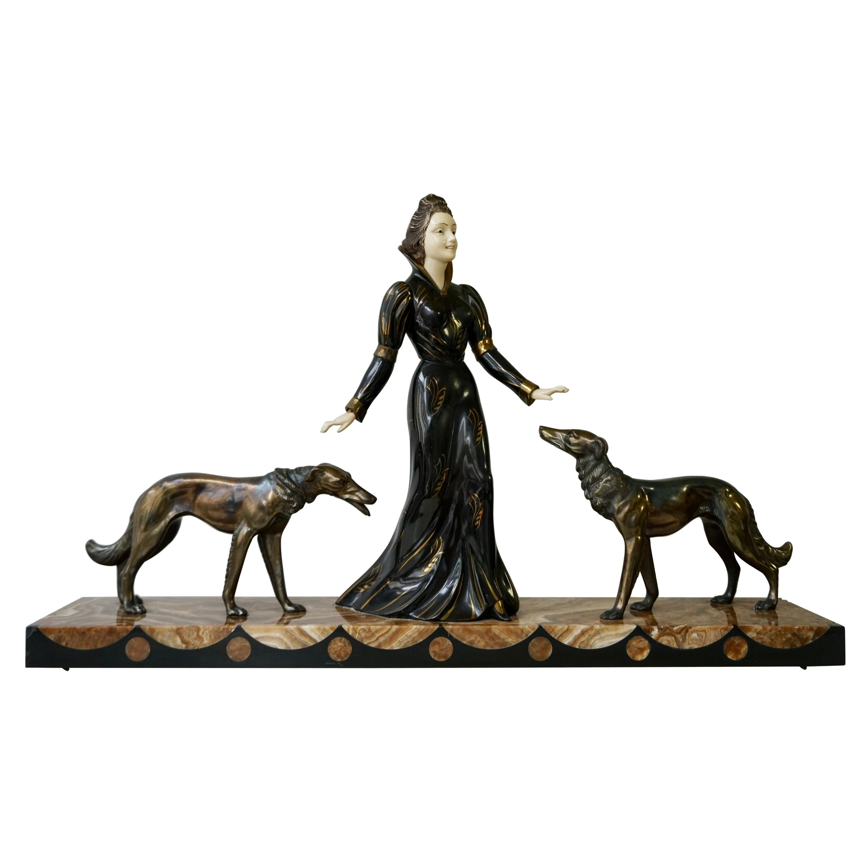 Art Deco Bronze and Marble Sculpture of a Woman with Greyhounds Signed S Melani