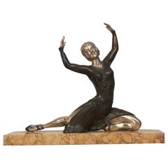 Art Deco Bronze and Silver Dancer Sculpture Signed H. Molins, France 1930s
