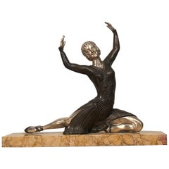 Art Deco Bronze and Silver Dancer Sculpture Signed H. Molins, France, 1930s