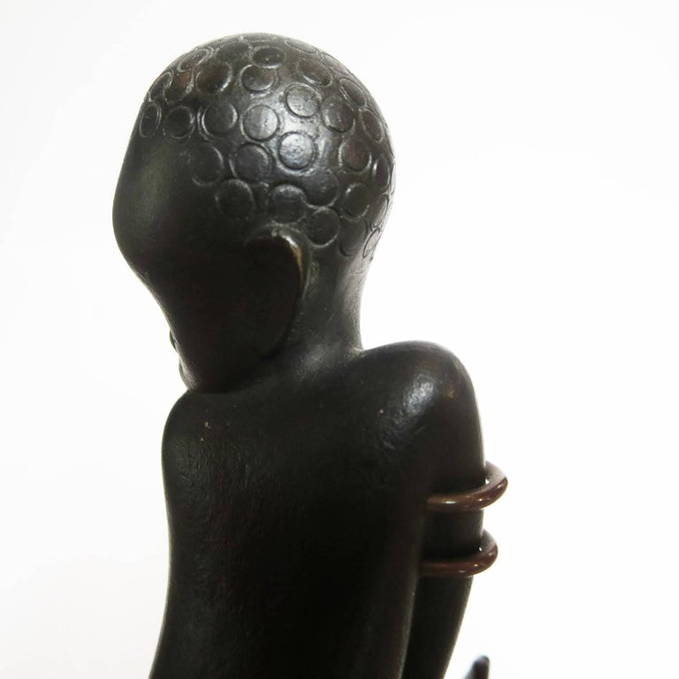 Art Deco Bronze and Wood Palm Tree Hagenauer Sculpture, African Theme In Excellent Condition For Sale In Los Angeles, CA