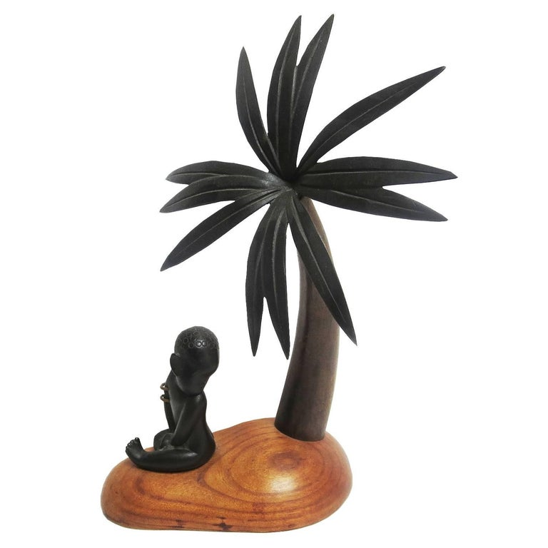 Art Deco Bronze and Wood Palm Tree Hagenauer Sculpture, African Theme For Sale