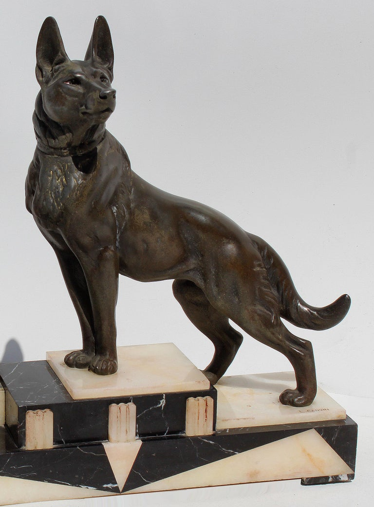 French Louis-Albert Carvin Dog Animalier Art Deco Sculpture in Marble and Bronze  For Sale