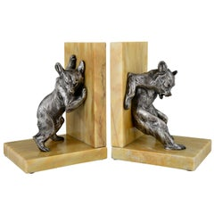 Art Deco Bronze Bear Bookends Charles Paillet, France, 1920