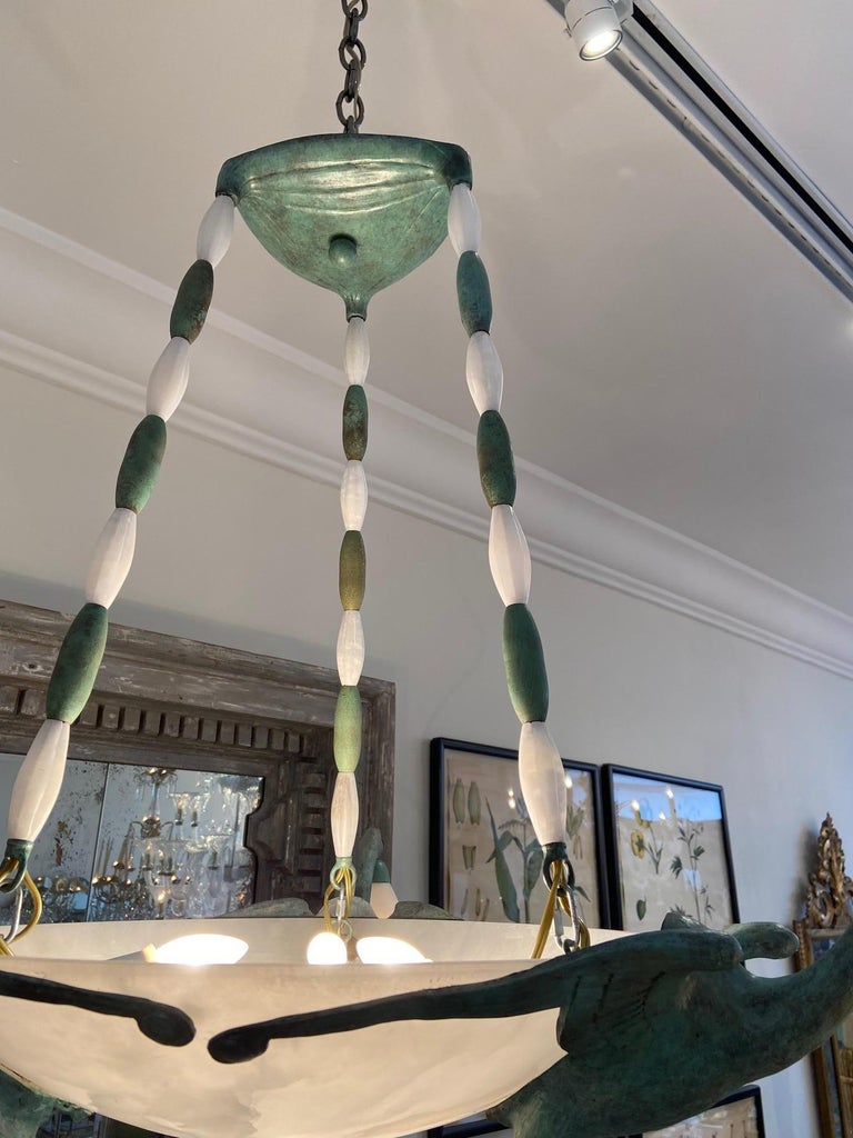 American Art Deco Chandelier with Alabaster Shade, 3 Birds after  Albert Cheuret  For Sale