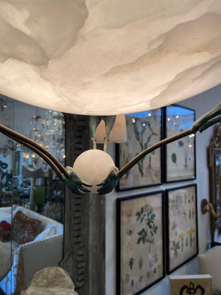 Art Deco Chandelier with Alabaster Shade, 3 Birds after  Albert Cheuret  In Good Condition For Sale In Los Angeles, CA
