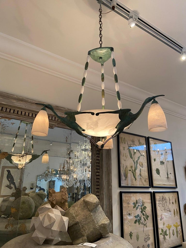 Art Deco Chandelier with Alabaster Shade, 3 Birds after  Albert Cheuret  For Sale 1