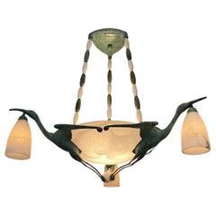 Art Deco Chandelier with Alabaster Shade, 3 Birds after  Albert Cheuret