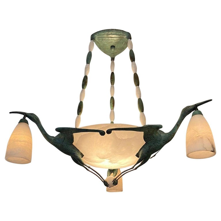 Art Deco Chandelier with Alabaster Shade, 3 Birds after  Albert Cheuret  For Sale