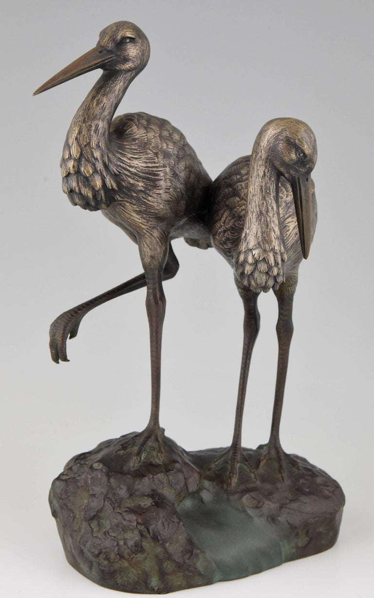 French Art Deco Bronze Bird Sculpture by A. Vannier, 1930, France For Sale
