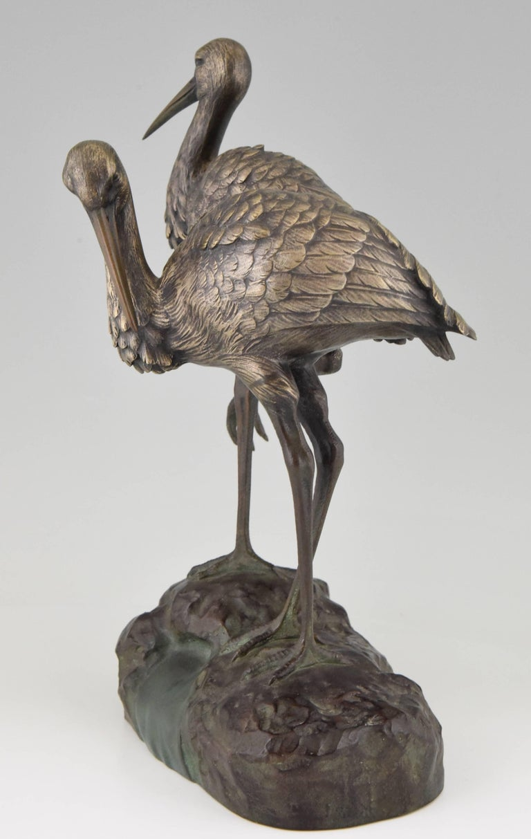 Patinated Art Deco Bronze Bird Sculpture by A. Vannier, 1930, France For Sale