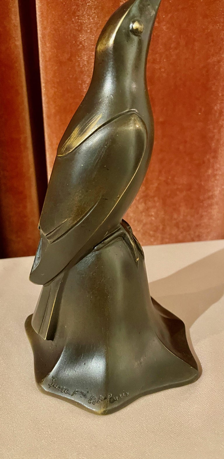 Art Deco Bronze Blue Bird Bell Sculpture by Edouard Marcel Sandoz Cubist, French For Sale 7