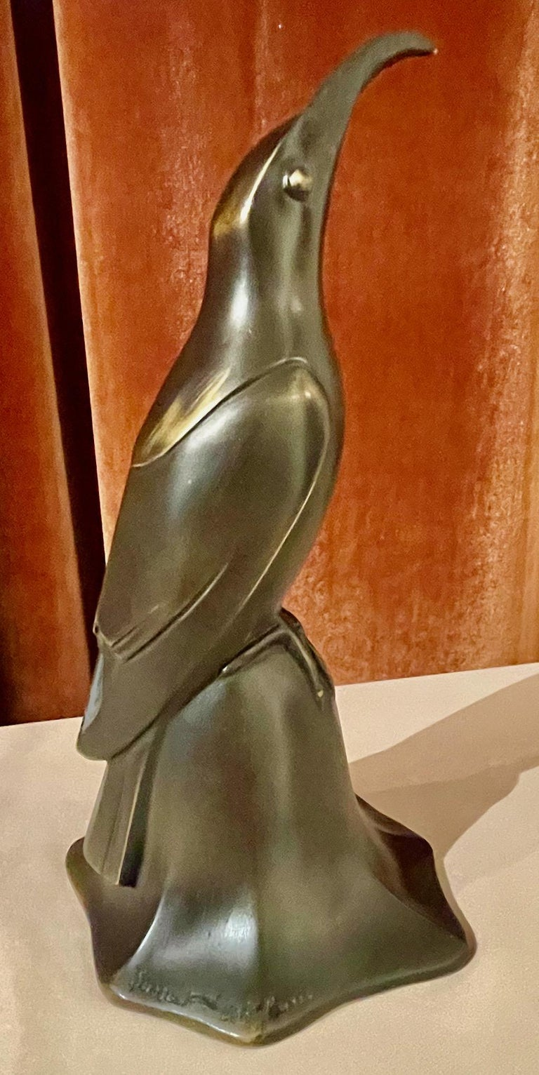 Art Deco Bronze Blue Bird Bell Sculpture by Edouard Marcel Sandoz Cubist, French For Sale 8