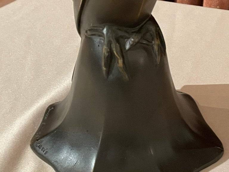 Art Deco Bronze Blue Bird Bell Sculpture by Edouard Marcel Sandoz Cubist, French For Sale 5