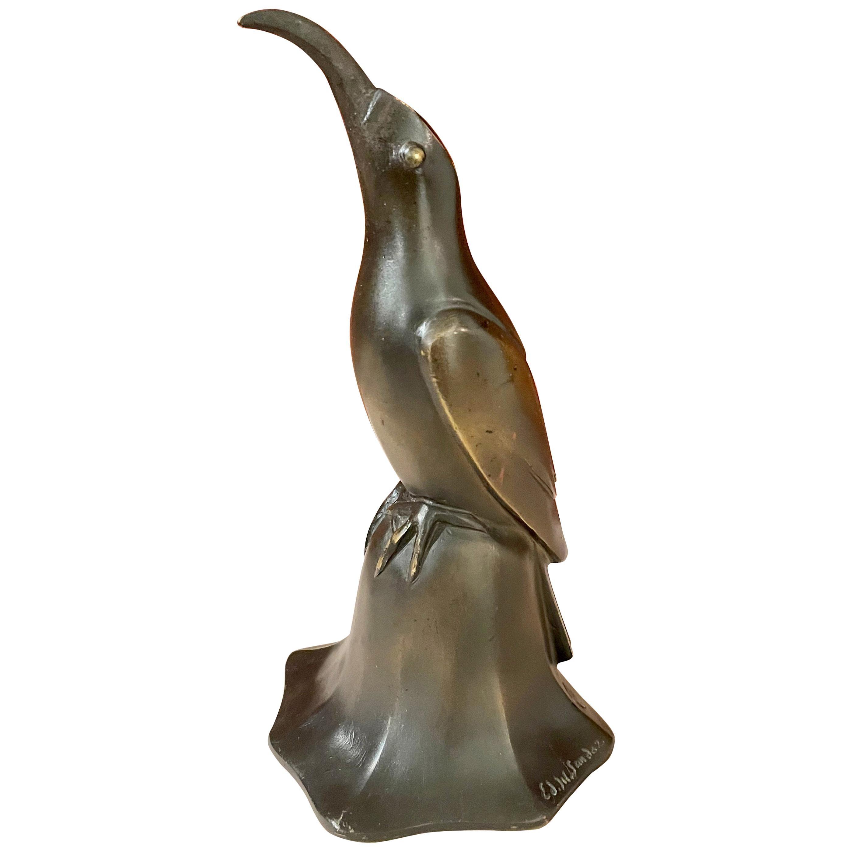 Art Deco Bronze Blue Bird Bell Sculpture by Edouard Marcel Sandoz Cubist, French