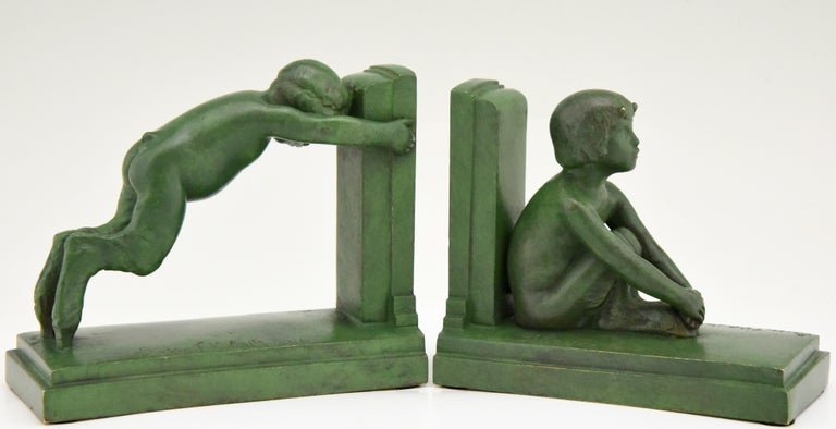 French Art Deco Bronze Bookends Boy and Girl Satyr Paul Silvestre, France, 1920