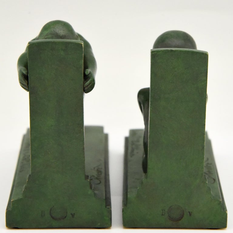 Early 20th Century Art Deco Bronze Bookends Boy and Girl Satyr Paul Silvestre, France, 1920