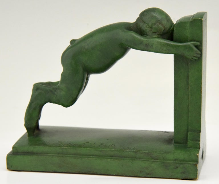 Art Deco Bronze Bookends Boy and Girl Satyr Paul Silvestre, France, 1920 1