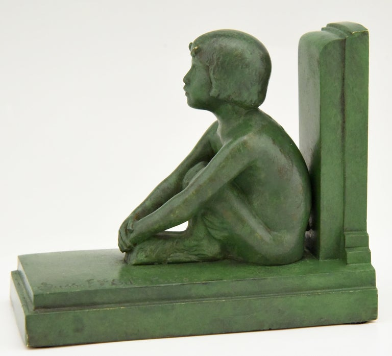 Art Deco Bronze Bookends Boy and Girl Satyr Paul Silvestre, France, 1920 2
