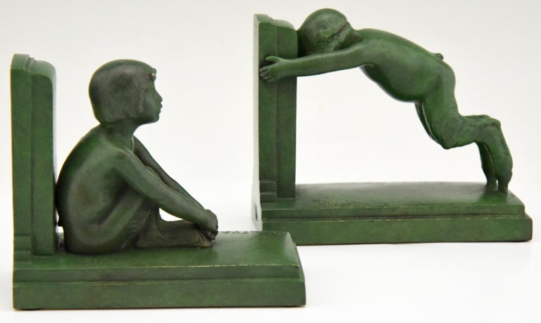 Art Deco Bronze Bookends Boy and Girl Satyr Paul Silvestre, France, 1920 3