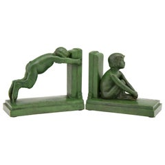 Art Deco Bronze Bookends Boy and Girl Satyr Paul Silvestre, France, 1920