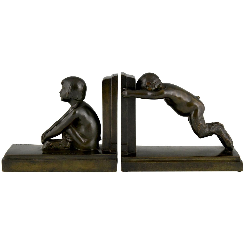 Art Deco Bronze Bookends Boy and Girl Satyr Paul Silvestre, France, 1920
