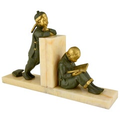 Art Deco Bronze Bookends Chinese Children Mabel White, 1925