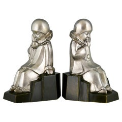 Art Deco Bronze Bookends Little Pierrots by Jean de La Fontinelle 1925