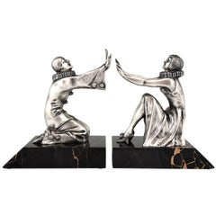 Art Deco Bronze Bookends Pierrot and Female Clown by Limousin, France, 1930