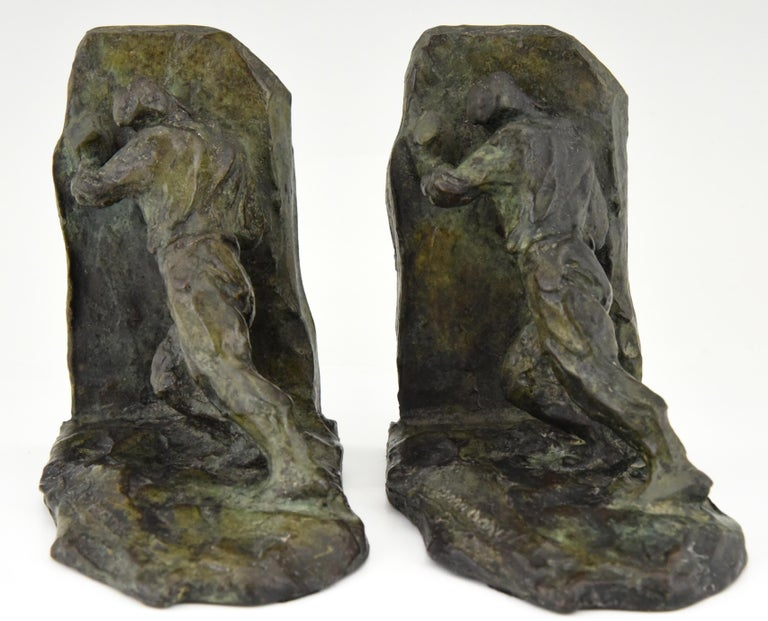 French Art Deco Bronze Bookends Two Men Pushing Victor Demanet 1925 France