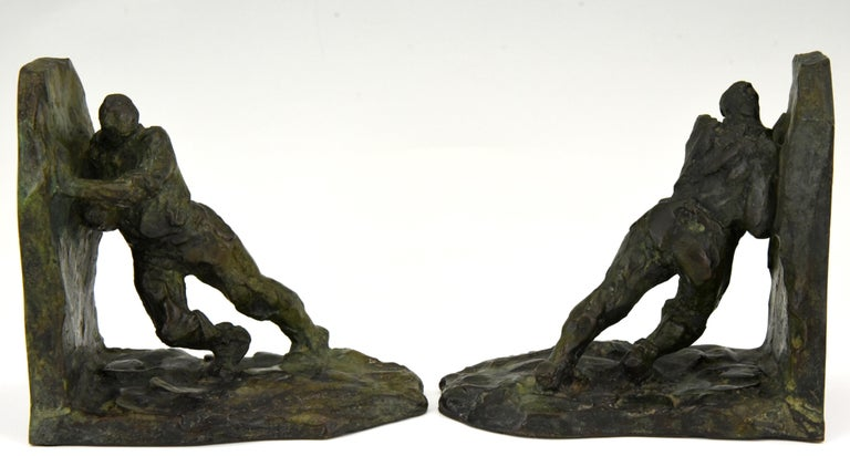 Patinated Art Deco Bronze Bookends Two Men Pushing Victor Demanet 1925 France