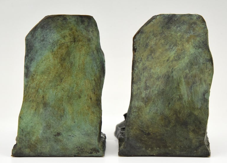 Art Deco Bronze Bookends Two Men Pushing Victor Demanet 1925 France In Good Condition In Antwerp, BE