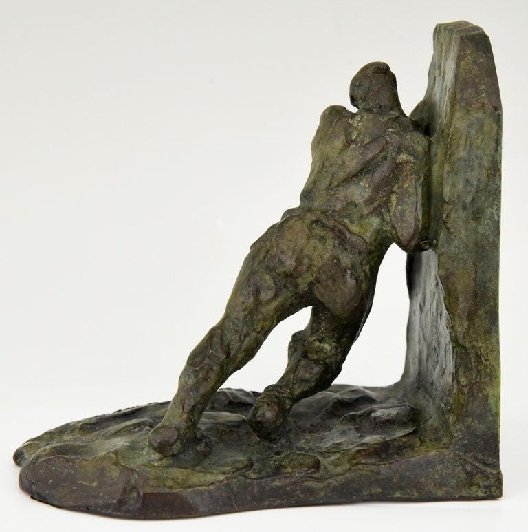 Art Deco Bronze Bookends Two Men Pushing Victor Demanet 1925 France 2
