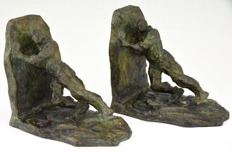 Art Deco Bronze Bookends Two Men Pushing Victor Demanet 1925 France 3