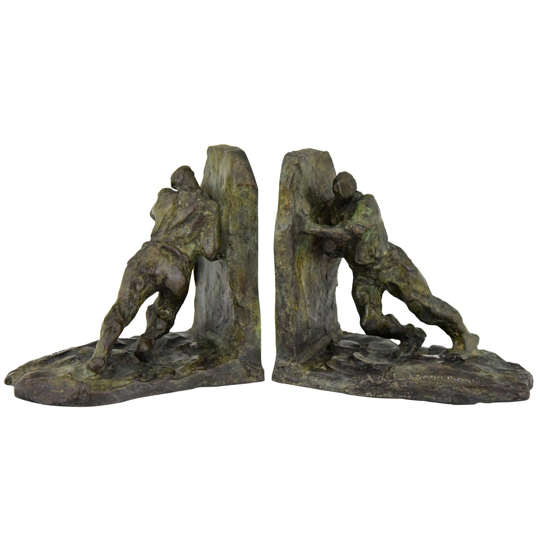 Art Deco Bronze Bookends Two Men Pushing Victor Demanet 1925 France