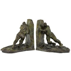 Art Deco Bronze Bookends Two Men Pushing Victor Demanet 1925 France