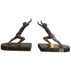 Art Deco Bronze Bookends with Black Marble Bases