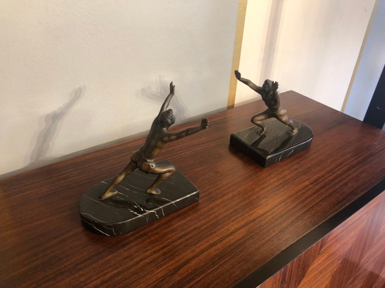 Italian Art Deco Bronze Bookends with Marble Bases For Sale