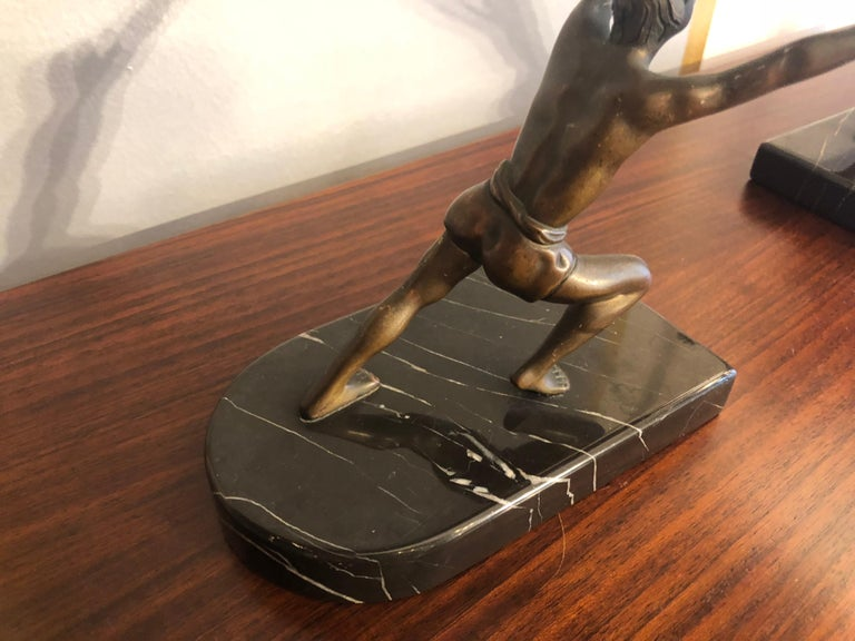 Art Deco Bronze Bookends with Marble Bases In Excellent Condition For Sale In Milano, IT