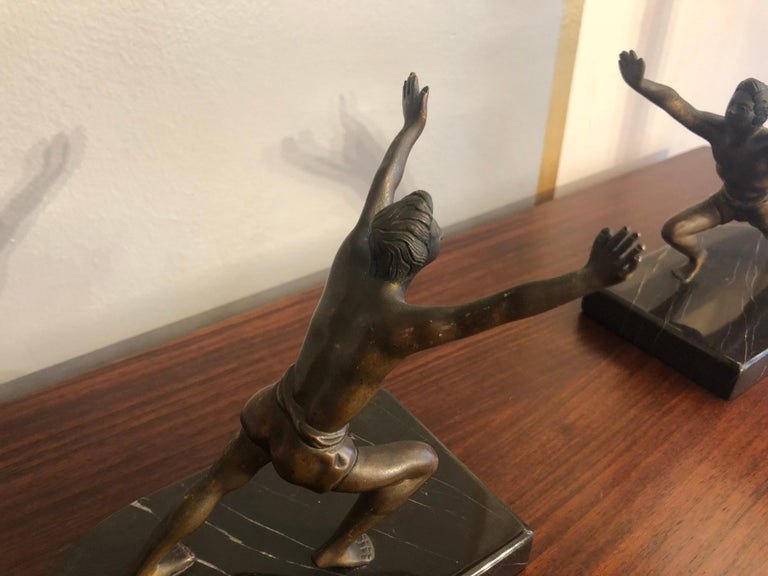 20th Century Art Deco Bronze Bookends with Marble Bases For Sale