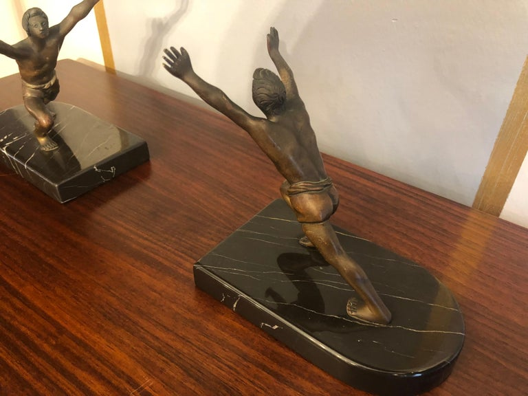 Art Deco Bronze Bookends with Marble Bases For Sale 1