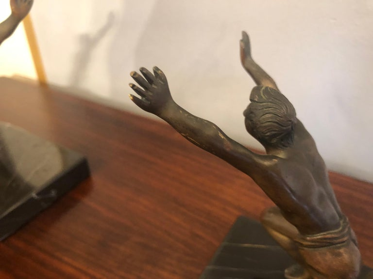 Art Deco Bronze Bookends with Marble Bases For Sale 2